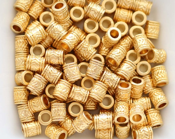 10pc matte gold tube beads, heishi beads, gold rondelle, heishi gold, metal spacer beads, rondelle beads, large hole beads, bead spacers