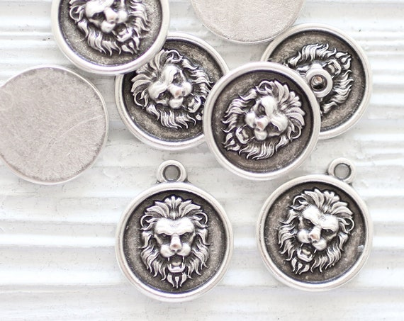 5pc lion charms, round lion pendant, large hole necklace charms, earrings charms silver, animal charms, earrings dangle, round charms silver