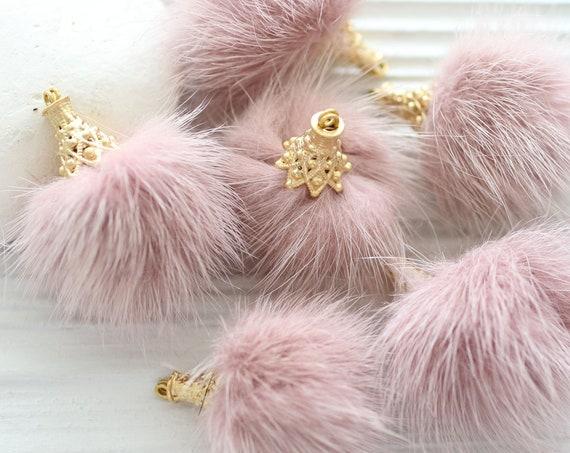 Pink faux fur pom pom tassel, baby pink pom pom keychain tassel, purse pompom, pink pom pom earrings tassel, pom pom with gold cap, N35