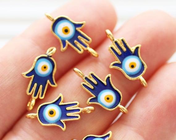 2pc Hamsa charm with evil eye, good luck Hamsa charms, Hamsa connector, enamel charm, hand of Fatima, dangle, Hamsa pendant connector, S