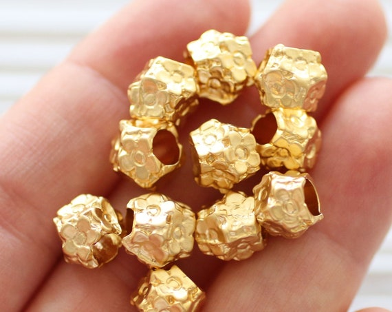 10pc large rondelle beads gold, bracelet beads, flower beads, spacer beads, slider beads, necklace large hole beads, flower charms beads