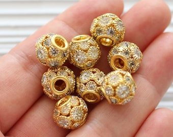2pc 12mm pave beads, rhinestone ball beads, rhinestone rondelles, rhinestone beads, large round clear pave bead, spacer beads, cz beads