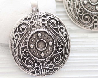 Tribal pendant silver, large round pendant, silver focal pendant, medallion pendant, large metal pendant, silver findings for jewelry