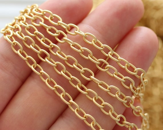 3.3 feet 5mm cable chain gold, 24K gold plated cable chain, chain, matte gold chain, gold chain, necklace chain, jewelry chain, cable chain