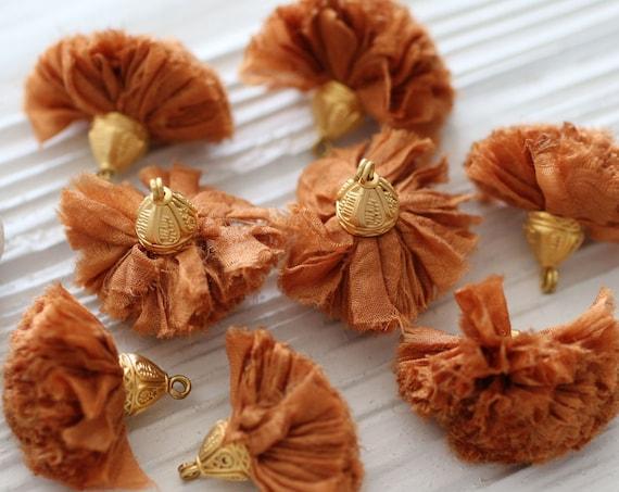 Copper sari silk pom pom tassel, sari silk tassel, tassel with cap, sienna, rust color jewelry tassel, earrings necklace tassel dangle, N56