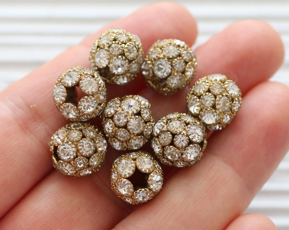 3pc 11mm pave beads, rhinestone gold ball beads, rhinestone rondelles, rhinestone beads, large round clear pave bead, spacer beads, cz beads