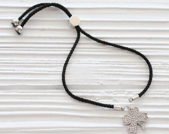 Adjustable black cord bracelet blank, DIY cord bracelet, semi-ready cord bracelet with silver sliding stopper, friendship bracelet string,N8
