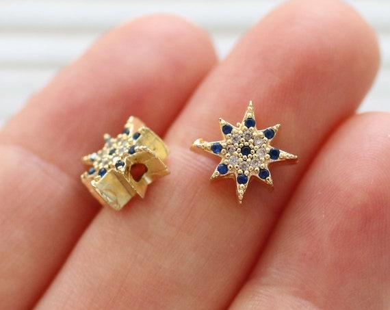 Polar star pave beads, pave charms, rhinestone beads, bead spacers, slider beads, star pave cz beads, celestial charms, pave sun bead