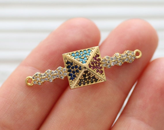 Multicolor pave pendant, rhinestone pendant, pave connector, gold pave charms, rhinestone findings, necklace connector, bracelet cz findings