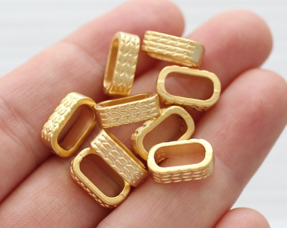 10pc rondelle beads gold, large rondelle beads metal, rectangle heishi beads, necklace beads, spacer beads, large hole beads, hammered beads