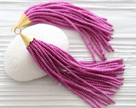 Magenta beaded tassel, fuchsia, plum, long bead tassel, necklace tassel pendant, glittery, gold cap tassel, tassel, decorative, N25