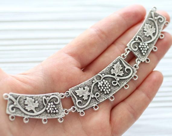Crescent moon necklace pendant, large filigree crescent pendant connector, silver filigree collar, multi strand hammered tribal crescent