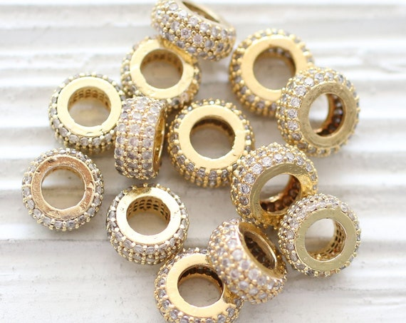2pc, 10mm clear rhinestone rondelle beads, gold pave beads, cv beads, large hole crystal beads, cz beads, pave rondelle, bead spacers