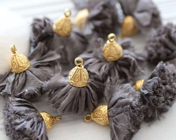 Dark gray sari silk tassel, silk pom pom tassel with cap, smoke grey tassel, keychain, earrings necklace tassel, purse tassel charm, N24
