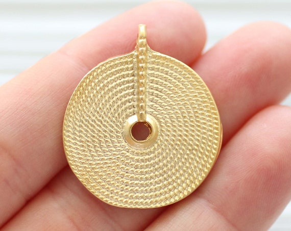 Round pendant gold, spiral pendant, spiral earrings charms, large charms, gold tribal pendant, metal pendant, gold focal pendant, tribal