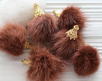 Terracotta pom pom tassel, copper brown pom pom keychain tassel, faux fur pom pom earrings tassel, tassel with gold cap, purse tassel, N56