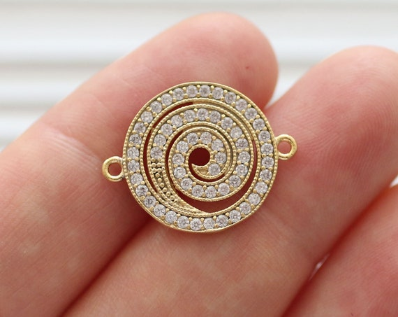 Spiral pave pendant connector, rhinestone pendant, gold pave charms, spiral pave jewelry, necklace rhinestone pave beads, earrings dangle
