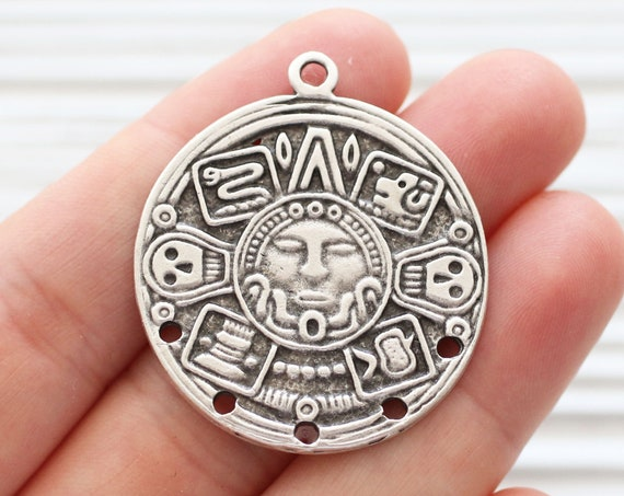 Tribal pendant silver with holes, round pendant connector, silver pendant with hammered images, earrings pendant, focal statement piece