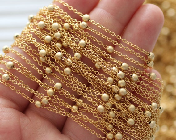 3.3 feet satellite chain, 24K gold plated jewelry chain, cable chain with 3mm ball beads, beaded cable chain gold, chain with ball charms
