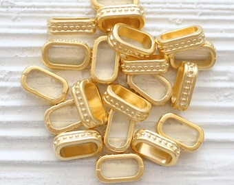 10pc textured beads, rondelle beads gold, large rondelle beads metal, rectangle heishi beads, necklace beads, spacer beads, large hole beads
