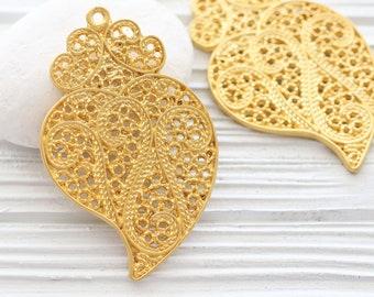 Heart pendant, large gold heart pendant, filigree heart, Valentines day, gold pendant, large pendants, love pendant, valentines day gift