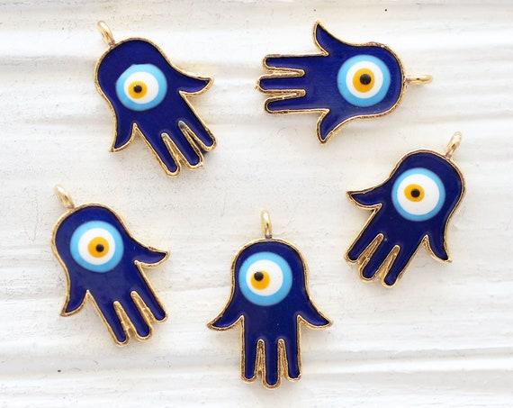 2pc Hamsa charms with evil eye, Hamsa pendant, enamel evil eye charm gold, Hamsa, hand of Fatima, Hamsa charms gold, blue evil eye dangle, S