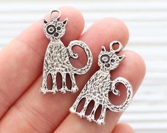Cat pendant silver, earrings pendant, animal pendant, silver pendant, earrings charms, kitten charm pendant, cozy cat, silver cat