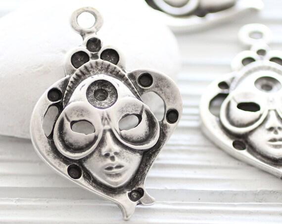 Mask pendant for masquerade ball, mask pendant silver, abstract pendant, silver face mask, large mask, mask dangle pendant,medallion pendant