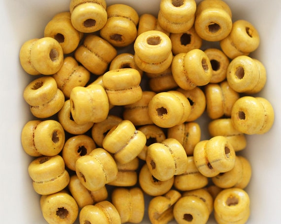 9mm yellow wood beads, barrel wood beads, 20pc, 40pc, loose mala beads, wooden necklace beads, rondelle natural wood bracelet beads, N43