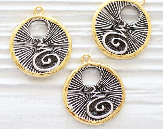 Coin pendant, earrings charms, coin charms, gold bezel pendant, spiral pendant, tribal pendant, necklace charms, just dangles,antique silver