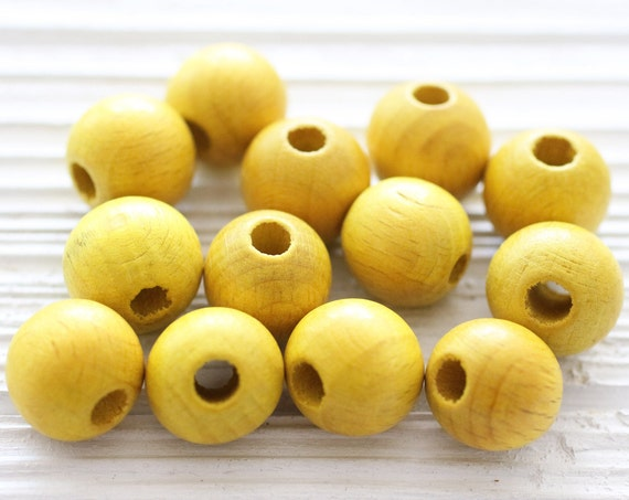 7pc - 15mm yellow wood beads, round beads, yellow beads, round wood beads, natural beads, heishi beads, yellow