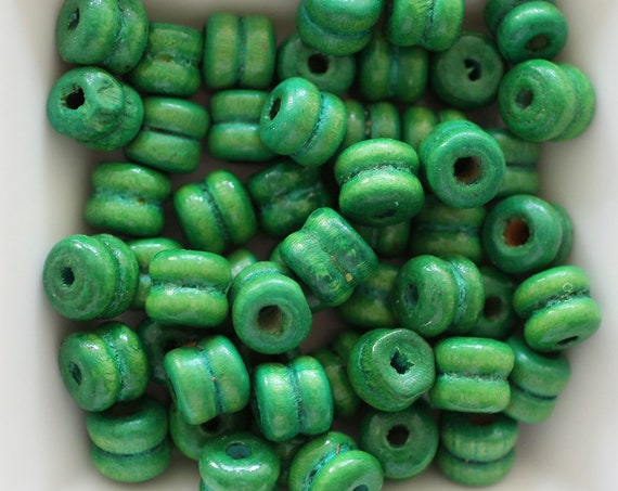 9mm wood beads green, barrel wood beads, 20pc, 40pc, loose mala beads, wooden necklace beads, rondelle natural wood bracelet beads, N40