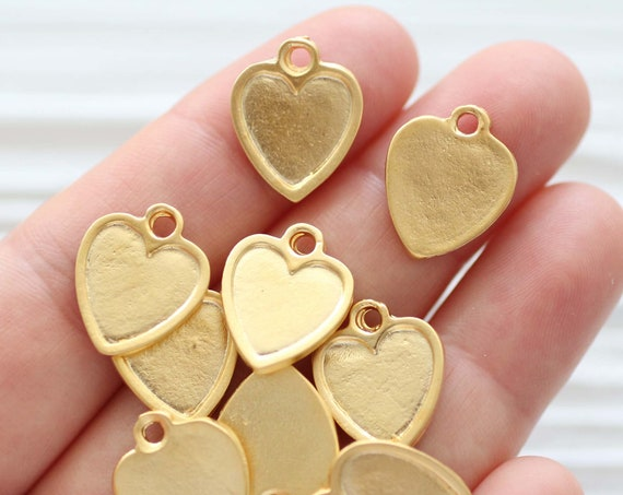 10pc heart charm gold, matte gold charms, heart charms for bracelet, heart pendant, heart dangle, necklace, earrings charms, heart beads