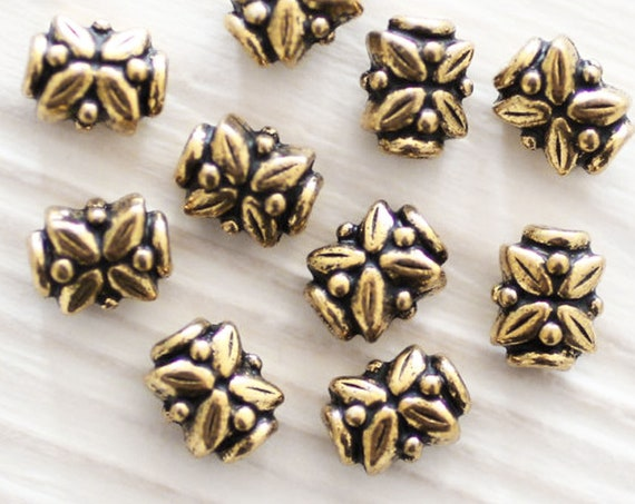 4pc antique bead spacers, leaf beads, gold beads, tribal beads, metal beads, tube beads, large hole beads, TierraCast, gold spacer beads