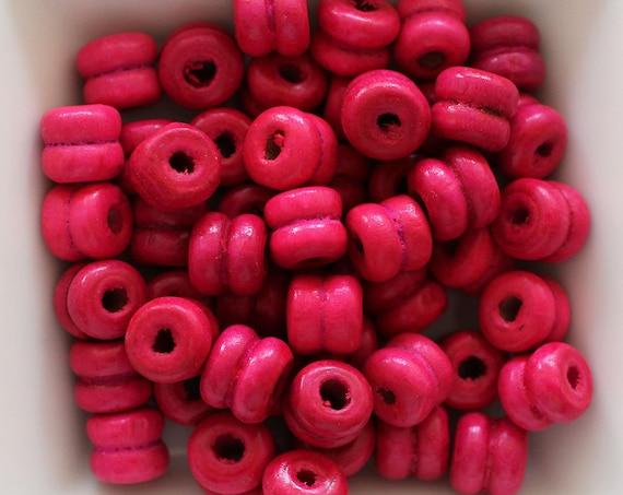 9mm cherry wood beads, fuchsia barrel mala beads, 20pc, 40pc, pink beads, magenta wooden necklace beads, rondelle wood bracelet beads, N62
