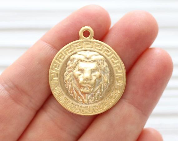 2pc lion pendant gold, lion head charm, lion coin, lion jewelry findings, animal pendant, lion, earrings charm, lion dangle pendant