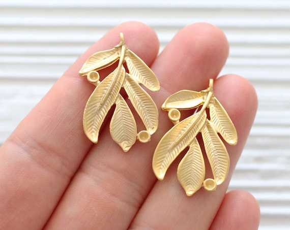 2pc gold leaf branch charm, leaf charm gold, tree branch pendant gold, earrings charm, leaf dangle pendant, earring charms gold