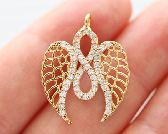 Infinity pendant with angel wings, pave pendant, pave charms, pave jewelry, rhinestone cz pendant, earrings dangle, necklace angel charm