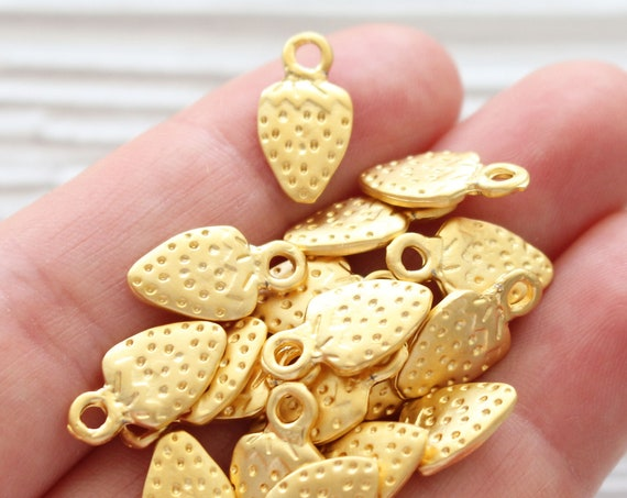 10pc strawberry charm, gold strawberry, dangle charms, earring charms, fruit charms, gold dangle berry charms, necklace, bracelet charms