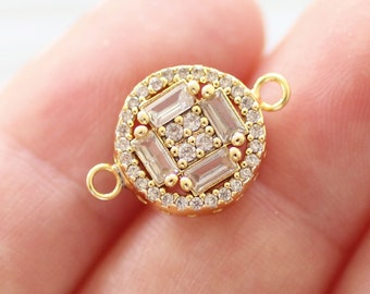 Pave charm gold, crystal connector, pave connectors, clear crystal earring charms, rhinestone jewelry, round bracelet connector, pendant