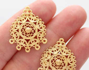 2pc chandelier earring findings, filigree earrings charms, pendant connector gold, filigree findings, multi strand jewelry connector,dangles