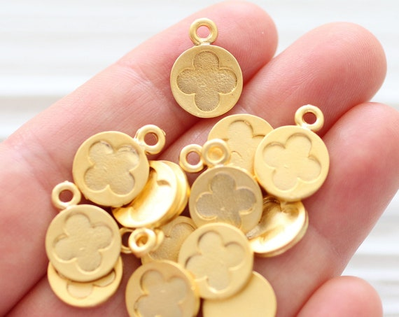 10pc matte gold earring charms, flower charm, bracelet charms, gold charms, round charm, dangles, tribal charms, necklace charms, gold beads