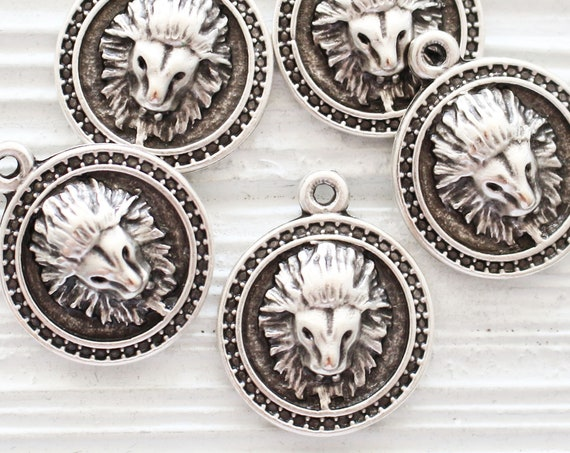 Lion pendant silver, lion coin, lion jewelry findings, filigree, animal pendant, lion, earrings charm, lion head charm, lion dangle pendant