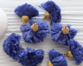 Cobalt blue sari silk pom pom tassel, royal blue silk tassel, tassel with cap, blue jewelry tassel, earrings necklace tassel dangle, N16