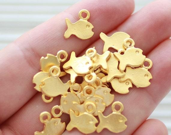 10pc fish charm gold, fish pendant mini, earring charm gold, earrings dangle, necklace charm, bracelet charms, animal charms, sea charms
