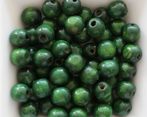 "9mm wood beads, mala beads, 20pc, 40pc, 8"" 16"" loose beads, green round wooden necklace beads, bead spacer natural wood rondelle beads, N40"