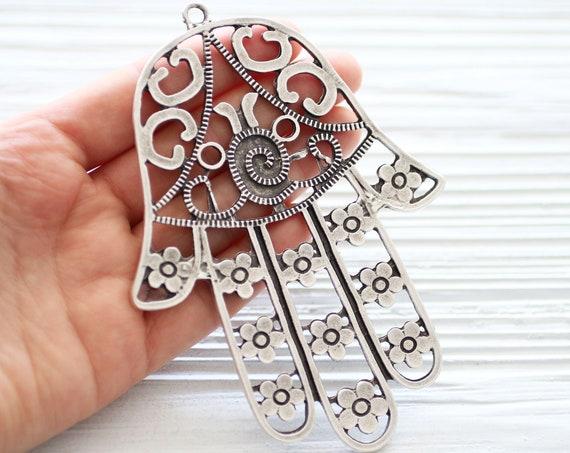 Large Hamsa pendant silver, Hamsa with flowers, silver pendants, Hamsa connector, hammered Hamsa pendant, hand of fatima, home wall decor