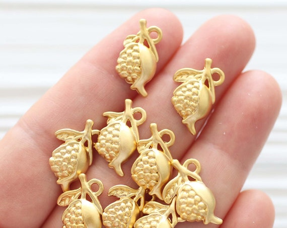 10pc pomegranate charm, gold pomegranate, gold dangle charms, earring charms, fruit charms, bracelet charms, necklace charms,earring pendant