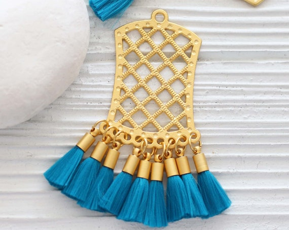 Filigree pendant with teal blue tassels, earring pendant dangle, tribal tassel pendant, earrings chandelier charm, filigree findings