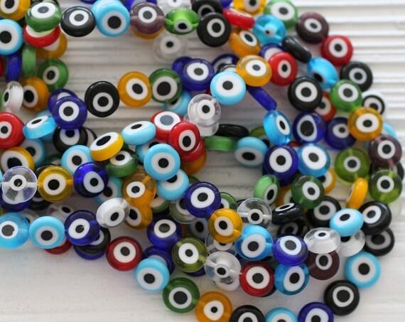 15pc-10mm multicolor evil eye beads, flat glass beads, lamp work beads, blue, red, white, black round glass beads, DIY bracelet bead, EE10